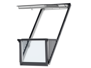 VELUX - GDL SK19 SD0L001 - Single white-painted CABRIO balcony, triple glazing, slate, 114x252