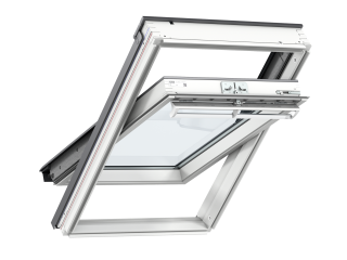 VELUX - GGL MK04 S10W02 - WP centre-pivot RW, insulated tile flashing, beige duo-blackout blind